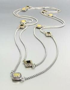 """GORGEOUS BALINESE Square Gold Cable Charms Silver Box Chain 54"""" Ex Long Necklace"""
