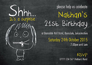 PERSONALISED BIRTHDAY PARTY INVITES Surprise CHALKBOARD Zipped Yellow Pack of 10
