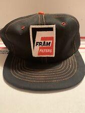Vtg Fram Trucker Hat Snapback Patch Oil Filter Company Logo Cap Farm Black