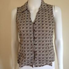 Jones New York Petite Geometric Print Sleeveless Blouse Brown & White Size S