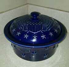 "Longaberger Americana Eagle Covered round Casserole 1.5Qt 9"" x 3 1/4"" - Perfect!"