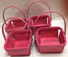 """Lot/4 Mini Miniature Pink Wood Baskets 5"""" x 5"""" x 2 3/4""""  Craft Supplies NWT"""