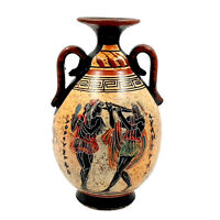 Ancient Greek Vase,Multicolored Amphora,Showing Aulitris and God Apollo,