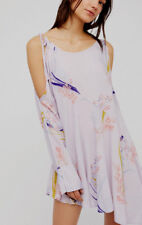People Clear Skies Cold Shoulder Lilac Floral Small S Tunic Dress Boho