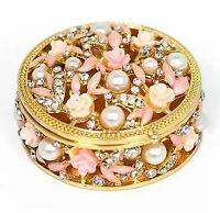 Round Jewelry Box Trinket Box with Rhinestones, Pearls, and Pink Flower. Gift
