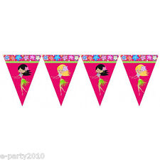 HAWAIIAN LUAU HULA GIRL FLAG BANNER ~ Birthday Party Supplies Decorations Pink