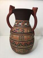 "Vintage Tribal Art Latin America Peruvian Hand Painting Pottery Vase, 11 1/2"" T"