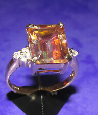 Secondhand 9ct Yellow Gold Mystique Topaz Ring Size N.