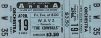 THE COWSILLS 1968 WE CAN FLY TOUR UNUSED NEW HAVEN ARENA / WAVZ CONCERT TICKET