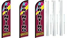 Printing Services Windless Flag With  Hybrid Pole set 3 pack