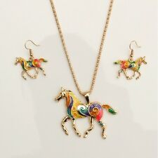 Damen Schmuckset Emaille Pferd Anhänger Halskette Ohrringe Ohrstecker Retro Set