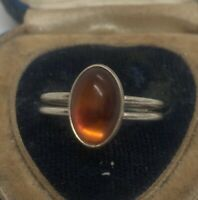 Vintage Sterling Silver Ring 925 Size 9 Amber