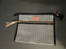 MARY KAY PURSE clutch COSMETIC BAG BLACK  WHITE PATENT LEATHER GOLD TRIM RP