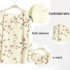 Women Ladies Chiffon T Shirt Floral Print Long Sleeve Blouse Casual Tops Md