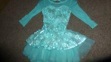 GIRLS 1ST POSTION FLORAL LACE SHORT LEOTARD BALLET DRESS MINT BOWS FANCY DRESS