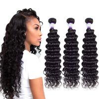 Brazilian Deep Wave Curly Human Hair Weave Bundles 100% Virgin Hair Extensions