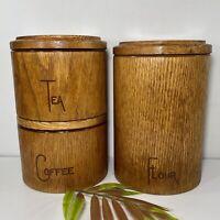 3 Vintage Cornwall Canister Set Retro Danish ModernFlour Coffee Tea Wood Grain