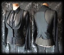 Goth Black Pinstripe Fitted DESOLATION Corset Waistcoat 10 12 Steampunk Vintage