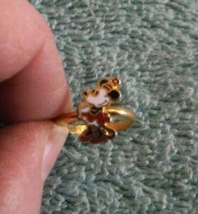 Vintage Walt Disney Productions Minnie Mouse Adjustable Ring ~ Goldtone & Enamel