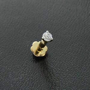14K Yellow Gold Finish Diamond Nose Lip Labret Screw Stud Piercing Ring Pin Bone