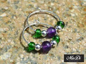 Pair of handmade hoop earrings with sterling silver, glass beads & amethyst.