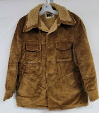 Vintage 70s Corduroy Sherpa Lined Barn Coat Williams Barry Snap Front Mens Sz 42
