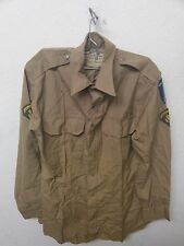 US ARMY DRESS TAN SHIRT LONG SLEEVE SPC-2 E-5 RANK, INF SCHOOL PATCH (A2371)