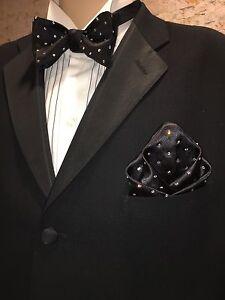 Pocket Square Handmade Black Polka Dot Swarovski Crystal By SQUARETRAPNY.COM