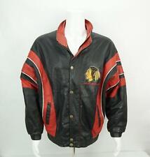 Vintage Chicago Blackhawks Starter Leather Coat Jacket Genuine Leather Medium