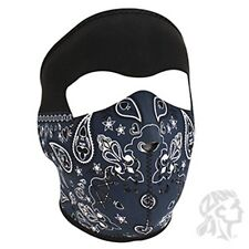 Blue Black PaisleyNeoprene Face Neck Mask Biker Atv Ski Motorcycle Costume