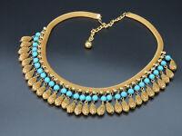 Gorgeous Vintage HOBE Dangling Fringe Bib Egyptian Revival Mesh Turquoise Beaded