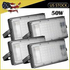 4 x 50W LED Flood Light SMD Outdoor Fixture Cool White Garden Building Yard Lamp