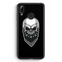 Totenkopf Bandana im Gesicht Huawei Y7 (2019) Silikon Hülle Motiv Design Grun...