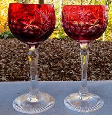 TWO Bayel Crystal Vineyard Grapes Cranberry Red Cut to Clear Hock Wine Goblets