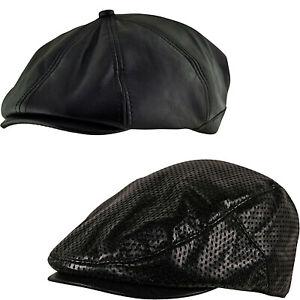 Faux Leather DOTTY FLAT CABBIE GOLF CAP - 8 PANEL Baker Boy Newsboy Ivy Cap