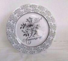 Norcrest Wedding 25th Anniversary Decorative Plate, Silver Trim & Rose Design
