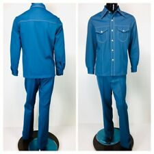 Vintage 60's Sears Kings Road Men's Blue 2 Pc. Pant and Button-Down Shirt Set