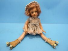 """Vintage 1940s 14"""" Mary Hoyer Composition Girl Doll Roller Skates Jointed"""