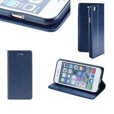 ^ Apple iPhone 6 / 6S Cover Tasche Cover Book SMART MAGNET DUNKEL BLAU GLATT