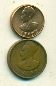 2 OLDER COINS from ETHIOPIA - 1 & 5 CENTS (BOTH DATING 1944)