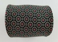 Christian Dior Mens Tie Black Red Gray Geometric Silk Neck Tie  W3.5'' L58''