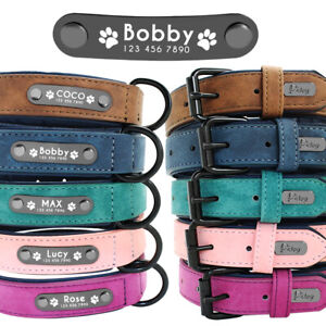 Personalized Dog Leather Collar Metal ID Engrave Name Tag for Small to Large Dog