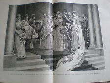 A Drawing Room at Buckingham Palace waiting in the corridoor 1890 old print