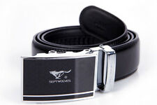 Men Belt Real Genuine Cow Leather Auto Lock Buckle Septwolves black 319130100-Y