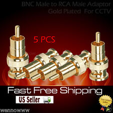 5x Bnc Male to Rca Male Adaptor - Gold Plated for Cctv