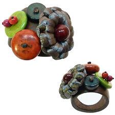Bague anneau en bois marron perles en pierre rouge vert satin gris TAILLE 60
