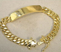 Large Men's Yellow Gold Plated Smooth ID Bracelet Curb Chain 8.5in Long New 12mm