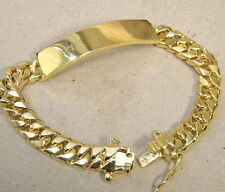 Large Men S Yellow Gold Plated Smooth Id Bracelet Curb Chain 8 5in Long New 12mm