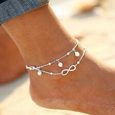 ☆ Silberne Fußkette | Infinity | weiße Perlen | Unendlich Ewigkeit | 19-24cm ☆