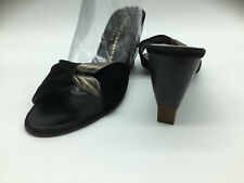 Robert Clergerie Black Suede Golden Leather Mules.US 6.5 NWB $495. France.